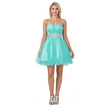 CLEARANCE - Ruched Bodice Studded Waist Mint Short Poofy Homecoming Dress (Size XS)