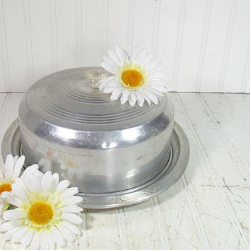 Mid Century Round Cake Carrier with Acrylic Handle - Vintage Aluminum 2 Piece Storage Set - Shabby Chic BoHo Bistro Metal Bakery Keeper