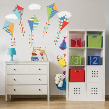 Wall Decals Kites Primary Colors with Clouds Eco-friendly Fabric Wall Stickers Colorway 2