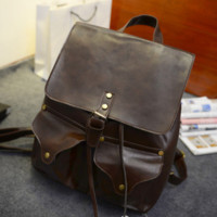 Retro Leather Backpack Double Pocket Travel Mountaineering Bags