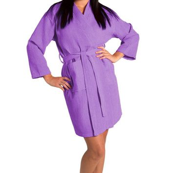 Tight Lenght Waffle Kimono Robe - Women - Lavender - Adult - One Size