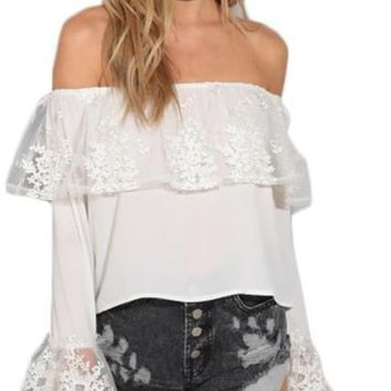 Apparel Sweet Sexy Vintage Women Top White Off Shoulder Chic Casual T-shirt Slash Neck Elegant Contrast Chiffon