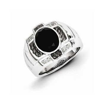 Sterling Silver Diamond & Onyx Oval Black Rhodium-plated Men's Ring