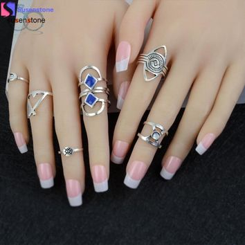 SUSENSTONE 8pcs/Set Women Bohemian Vintage Silver Stack Rings Above Knuckle Blue Rings Set