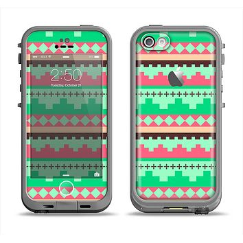 The Lime Green & Coral Tribal Ethic Geometric Pattern Apple iPhone 5c LifeProof Fre Case Skin Set