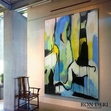 Abstract Art Large Size Painting Artwork on Canvas Acrylic Oversize Painting Original Handmade Art Painting Blue Painting Yellow Green Art