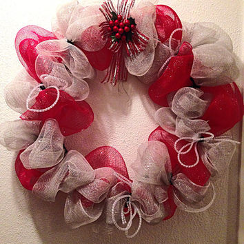 Christmas wreath. Red and silver deco mesh with by FunWithWreaths