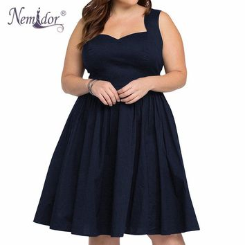 Nemidor Women 1950 Style Sexy Backless Vintage Swing Dress Sexy Sleeveless Cocktail Party Stretchy A-line Plus Size Dress