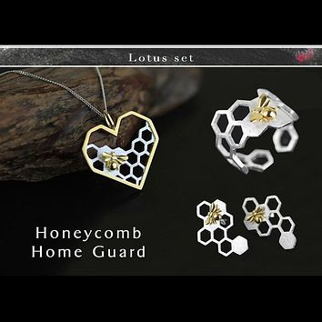 Lotus Fun Real 925 Sterling Silver Handmade Fine Jewelry Honeycomb Home Guard Jewelry Set with Ring Earring Pendant Necklace