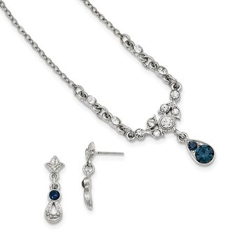 Downton Abbey Blue and Clear Crystal Necklace and Earrings Boxed Set