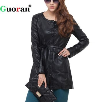 {Guoran} Leather Trench Coat For Women 2017 New Black Long Sleeve O-neck Female Faux Leather Coat Jackets Plus Size Outwear Belt