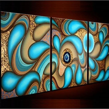 Large 3 Panel Abstract oil Painting on Stretched Canvas. abstract Oil painting, Wall Art Canvas, Large Wall Art, Large oil painting Office