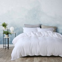 3 Piece Simple Organic Belgian Linen Duvet Cover Set in 12 Colors