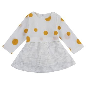 Baby Girls Tutu Dress Mesh Polka Dot Printed Long Sleeve Mini Dresses Lovely Gauze Princess Dresses for Girls clothes