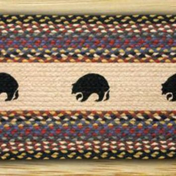 Black Bears Oval Patch Runner In Different Sizes