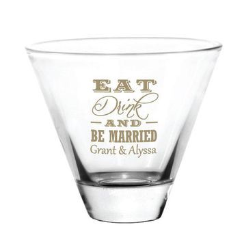 Wedding favors, martini glasses, eat drink and be married, personalized wedding glasses with your names and wedding date!
