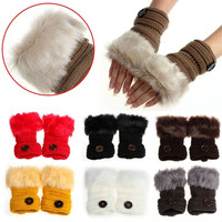 Women Warm Winter Faux Rabbit Fur Wrist Fingerless Gloves Mittens = 1932366596
