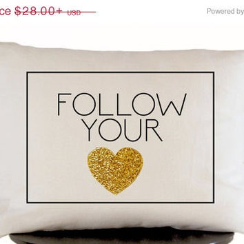 4th of July SALE Decorative Throw Pillow Cover in White Linen with Gold Heart -Wedding Anniversary Gift -Graduation Present -Cushion Cover -
