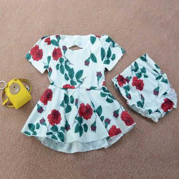 Dresses Baby Girl Backless Rose Print Dress+ Briefs Shorts Outfits Set Clothes drop shipping girl dress