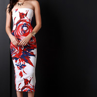 Abstract Spiral Floral Strapless Bodycon Dress