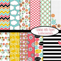 "Summer Hello Bright color digital scrapbook paper ""FABULOUS HELLO""  yellow, blue, green, white, orange pink, bike, flowers, cloud, love, hi"