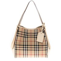 Burberry Women's Small Canter in Horseferry Check Beige Gold