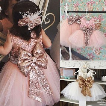Bridesmaid Formal Clothing Dresses Kids Baby Girl Sequins Boknot Dress Cute Ball Gown Christmas Party Kids Baby Girls