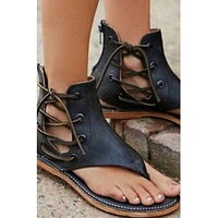 Gladiator Lace-Up Side Sandals
