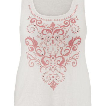 Plus Size - Lightweight Puff Paint Tank With Studs - Calypso Coral