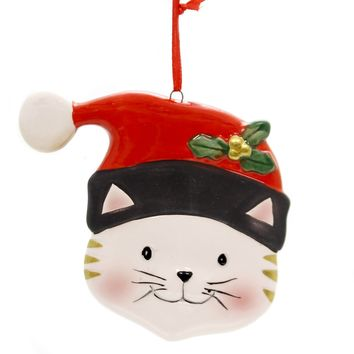 Holiday Ornaments CAT FACE W/SANTA HAT ORNAMENT Ceramic Whiskers 9731311