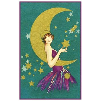 Vintage Art Deco Woman Purple Dress Moon Hat Counted Cross Stitch Pattern