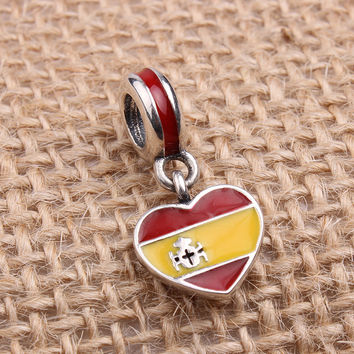 Spain Heart Flag Charms Original 100% Authentic 925 Sterling Silver Thread Beads fit for Pandora Charms bracelets