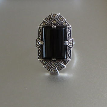 Art Deco Onyx & Marcasite Ring, Stamped Sterling, Greek Key Design, Cocktail Ring, Size 6 1/2