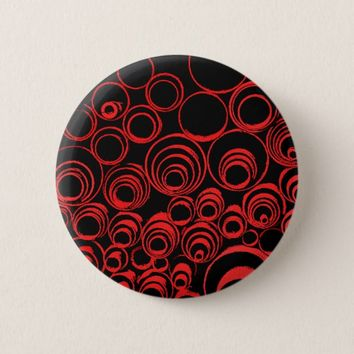 Red circles, rolls, ovals abstraction pattern pinback button