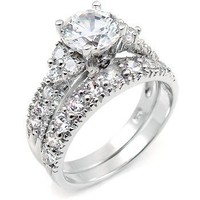 Sterling Silver Cubic Zirconia Wedding Engagement Ring Set, Size 7