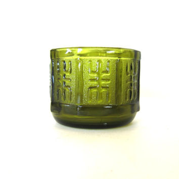 heavy green glass vintage flower pot planter / Aztec design embossed on glass / 1960s thick octagonal bowl vase