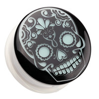 Glow in the Dark Sugar Skull Single Flared Ear Gauge Plug
