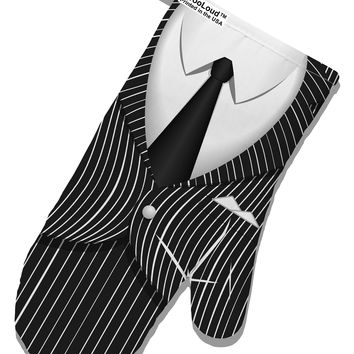 Pinstripe Gangster Jacket Printed Costume White Printed Fabric Oven Mitt All Over Print