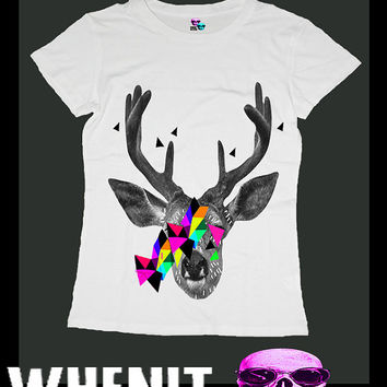 Deer exclusive hand print women t shirt 20421