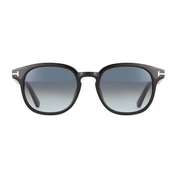 TOM FORD Frank Shiny Acetate Sunglasses, Black