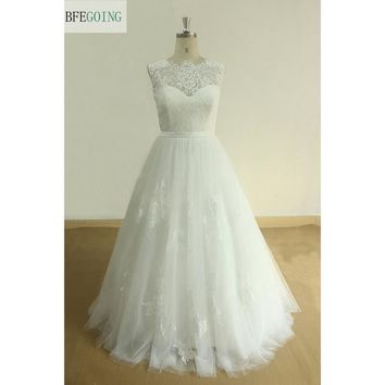 White Lace Tulle  A-line Wedding Dress  Floor -Length Scalloped Neck V-Back  Cap Sleeves Real/Original Photos  Custom Made