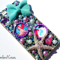 Custom Little Mermaid Phone Case iPhone Ariel iPhone Prince Eric Bling Phone Case Cover Rhinestone Phone Case iPhone 6 5 5S