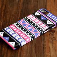 Purple Blue Black Ethnic Geometric 3D-Wrap iPhone 5S Case iPhone 5 Case iPhone 5C Case iPhone 4S Case iPhone 4 Case iPhone 6 Rubber Case