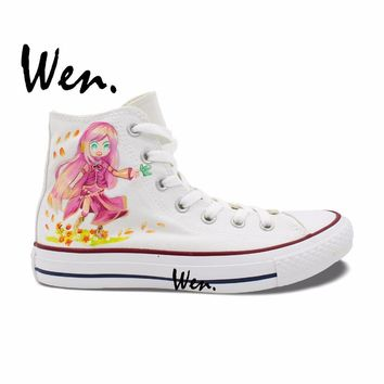 Wen Woman's Hand Painted Shoes VOCALOID Megurine Luka Anime High Top Men Women's White Canvas Sneakers for Gifts