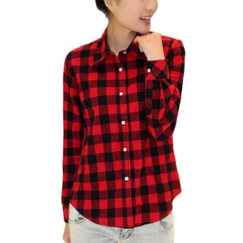 Women Autumn Long Sleeve Plaid Shirts 2017 Fashion Female Turn-Down Collar Button Casual Tops