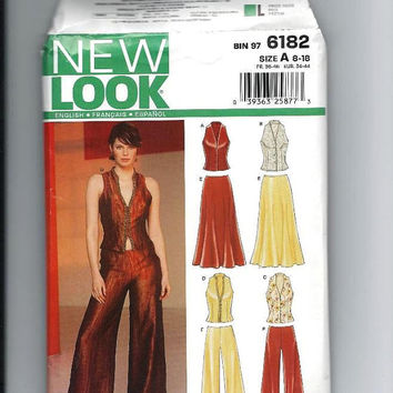 Pants / Skirt / Vest, Sewing Pattern, Size 8 to 18, Bust 31 to 40, Simplicity New Look Pattern 6182