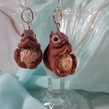 Squirrels, Squirrel earrings, cute squirrels, Polymer clay, Handmade. Unique gift for teen, woman, girlfriend, best friend, Funny earrings