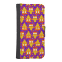 Blue and Orange Owl Pattern iPhone 5 Wallet Case