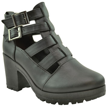 Womens Ankle Boots Cutout Strappy Buckles Chunky Heel Shoes black