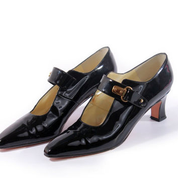 80s Vintage Black Patent Leather Pumps Mary Jane Witchy Goth Retro Pin Up Shoes Womens Size US 7.5 UK 5.5 EUR 38